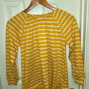 Old Navy Yellow & White striped long sleeve tee